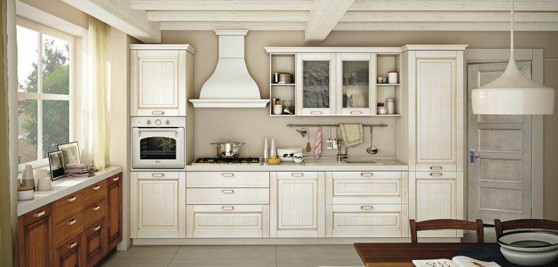 OPRAH - klasická kuchyňa s masívnymi dvierkami s priznanou textúrou dreva bielom a orechovom dekore