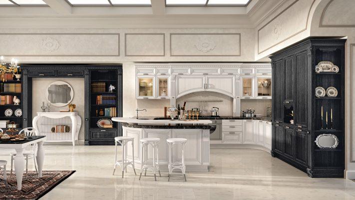 PANTHEON - luxusná kuchynská zostava v neodoloteľnej kombinácii bielej a čiernej so striebornou patinou