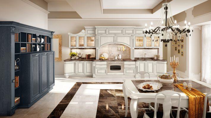 PANTHEON - luxusná kuchyňa od LUBE s nádherne prepracovanými detailami, okrasnými lištami a doplnkami, v ľadovo bielej farbe so striebornou patinou v kombinácii s čiernym príborníkom
