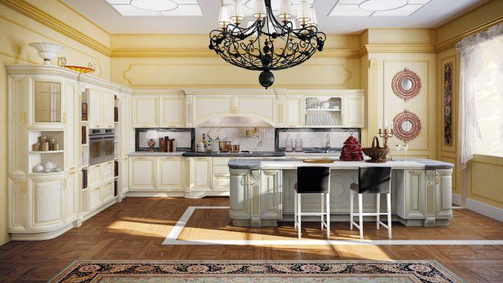 PANTHEON - luxusná kuchyňa so zlatou patinou na olivových a vanilkových dvierkach z masívu