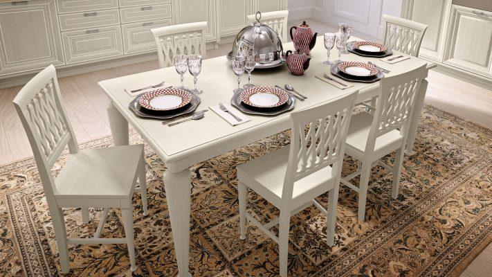 PANTHEON - jedálenský stôl so stoličkami v bielom morení