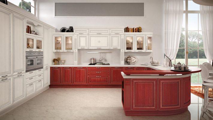 PANTHEON - luxusná zostava v extravagantnej kombinácii červenej a bielej, patinovanej striebrom