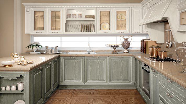 PANTHEON - luxusná kuchynská zostava v olivovo zelenej farbe s bielou patinou