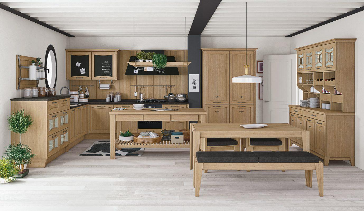 AUREA - klasická vidiecka kuchyňa v prevedení prírodný dub s hrčami