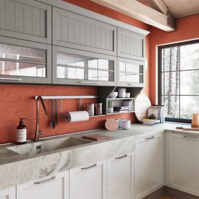 CONTEMPO - klasická vidiecka kuchyňa v šedo bielej kombinácii