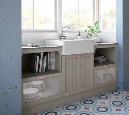 CONTEMPO - klasická kuchyňa, dvierka dyhované, morené v šedom odtieni Clay, s lamelovou výplňou