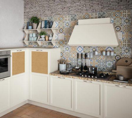CONTEMPO - klasická vidiecka kuchyňa, dvierka dýhované, morené na bielo