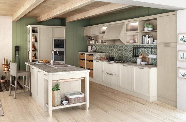 CONTEMPO - klasická vidiecka kuchyňa v kombinácií dýhované dvierka, morená do bielej a lakovaných matných dvierok v šedo hnedom odtieni