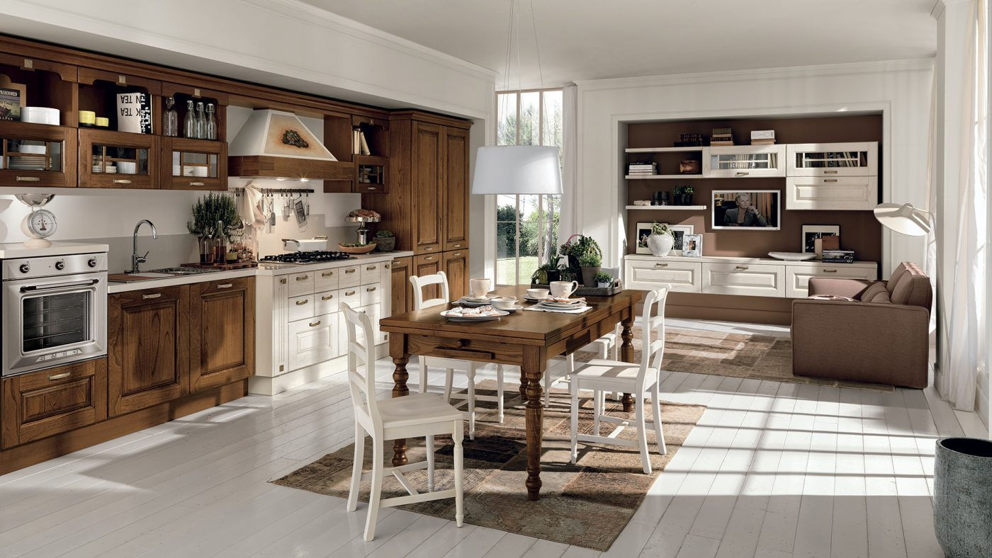 klasická talianska kuchyňa LAURA dvierka vo farbe Pickeled White a Walnut