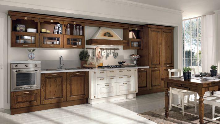 klasická vidiecka kuchyňa LAURA dvierka vo farbe Pickeled White a Walnut