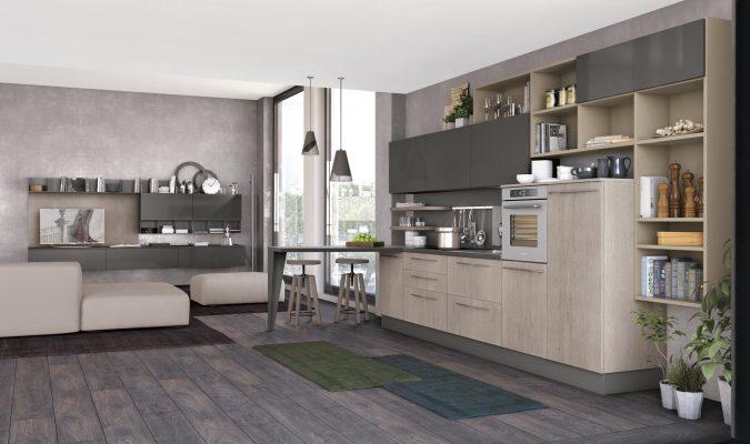 CloverBridge jednoduchá zostava so zvýšeným raňajkovým sedením prepojená s obývačkou