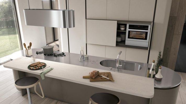 CloverNeck moderná kuchyňa od Lube s oblými koncovými prvkami