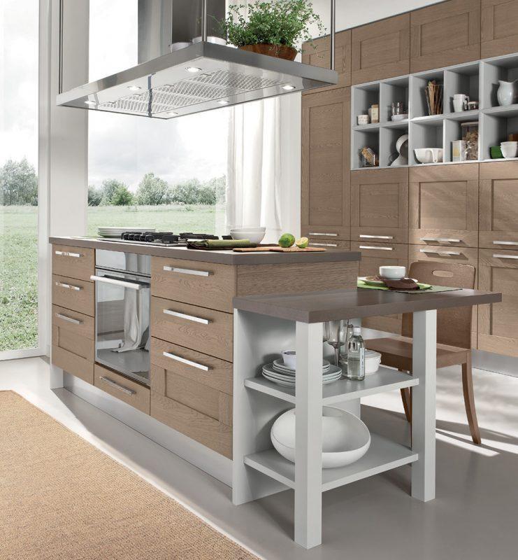 moderná kuchyňa GALLERY od LUBE má rám dvierok vyrobený z masívu výplň je dyhovaná