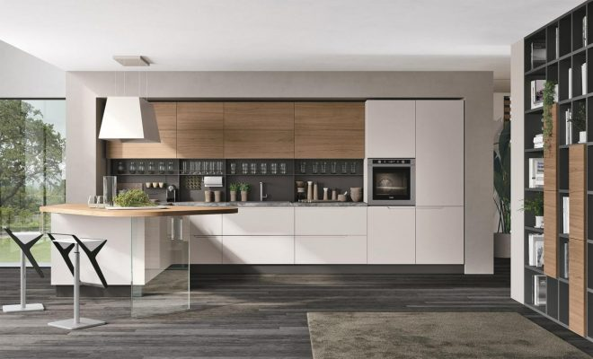 moderná kuchyňa LUNA od LUBE v prevedení matný biely lak a dubová dyha
