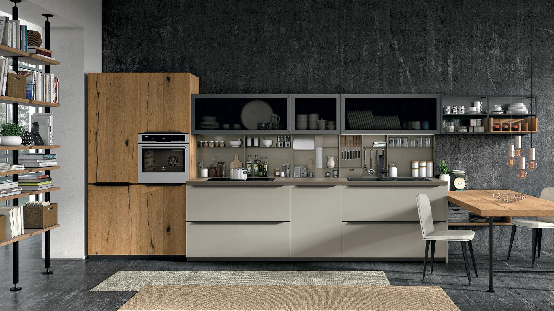 moderná kuchyňa OLTRE od LUBE - dvierka v prevedení dubová dýha, matný lak a sklo